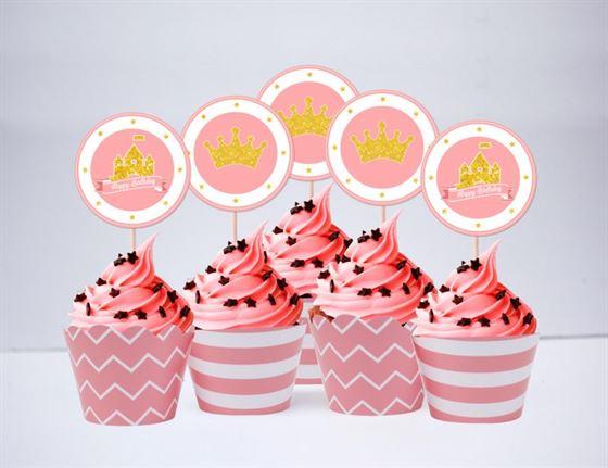 Tem bánh cupcake Vương Miện Bé Gái