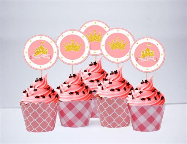 Tem bánh cupcake Vương Miện Công Chúa màu vàng hồng lưới