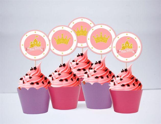Tem bánh cupcake Vương Miện Công Chúa màu vàng hồng tím