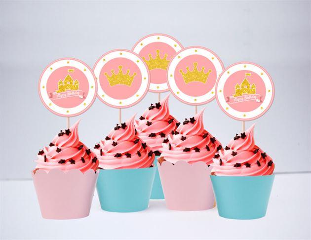 Tem bánh cupcake Vương Miện Công Chúa màu vàng hồng xanh min