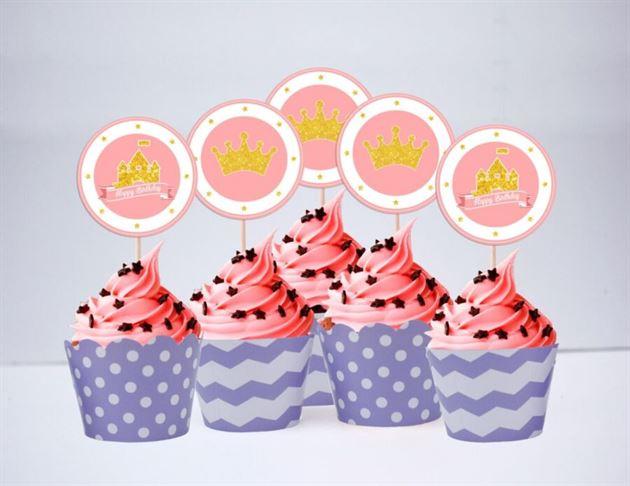 Tem bánh cupcake Vương Miện Công Chúa màu vàng tím chấm bi