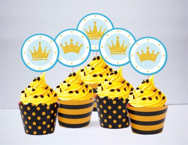 Tem bánh cupcake Vương Miện Hoàng Tử màu vàng đen