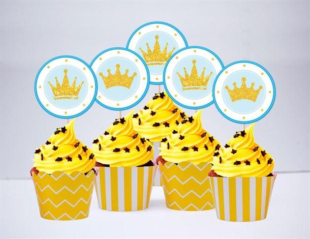Tem bánh cupcake Vương Miện Hoàng Tử màu vàng hoàng gia