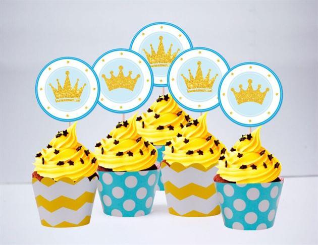 Tem bánh cupcake Vương Miện Hoàng Tử màu vàng xanh min