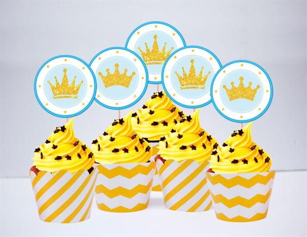 Tem bánh cupcake Vương Miện Hoàng Tử màu vàng zigzag