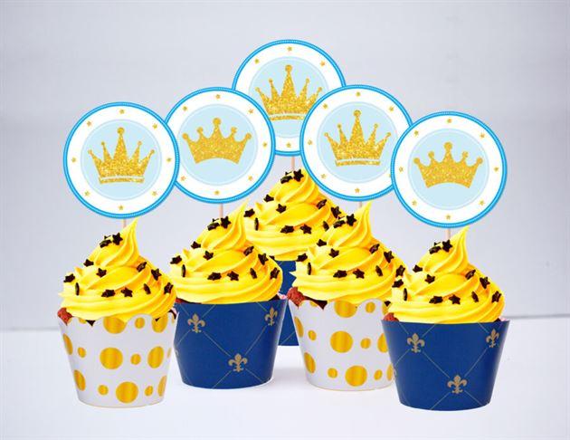 Tem bánh cupcake Vương Miện Hoàng Tử màu xanh hoàng gia