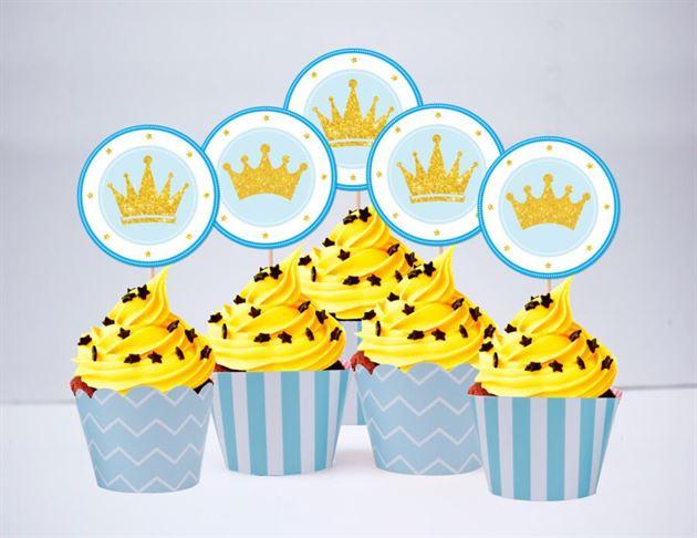 Tem bánh cupcake Vương Miện Bé Trai