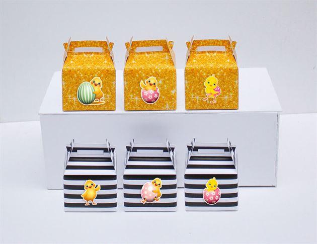 Tem hộp quà sinh nhật bé gái tuổi gà màu đen kim tuyến