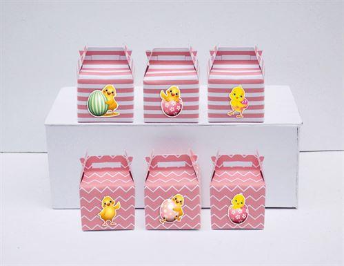 Tem hộp quà sinh nhật bé gái tuổi gà màu hồng hoàng gia
