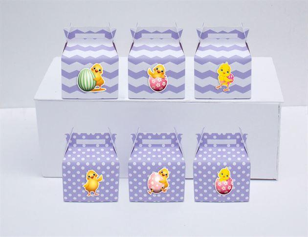 Tem hộp quà sinh nhật bé gái tuổi gà màu tím chấm bi