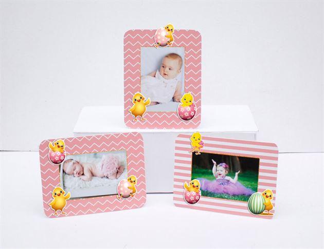 Tem khung hình sinh nhật bé gái tuổi gà màu hồng hoàng gia