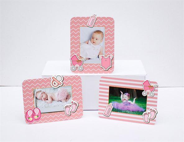 Khung hình sinh nhật baby girl màu hồng hoàng gia