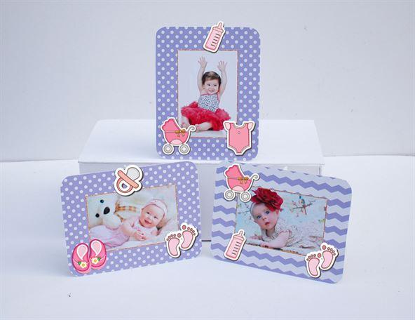 Khung hình sinh nhật baby girl màu tím chấm bi