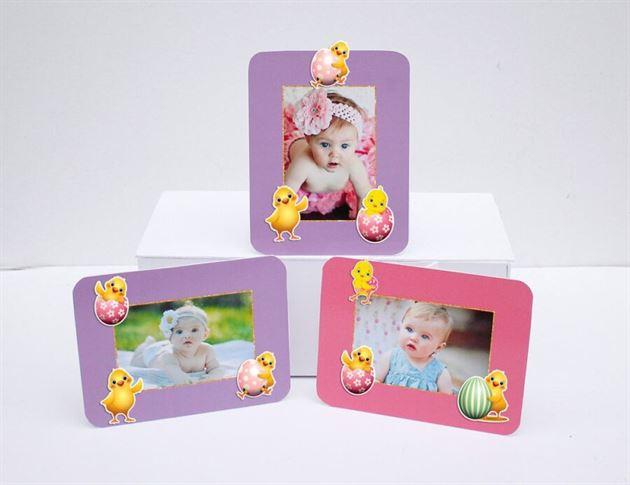 Tem khung hình sinh nhật bé gái tuổi gà màu hồng tím