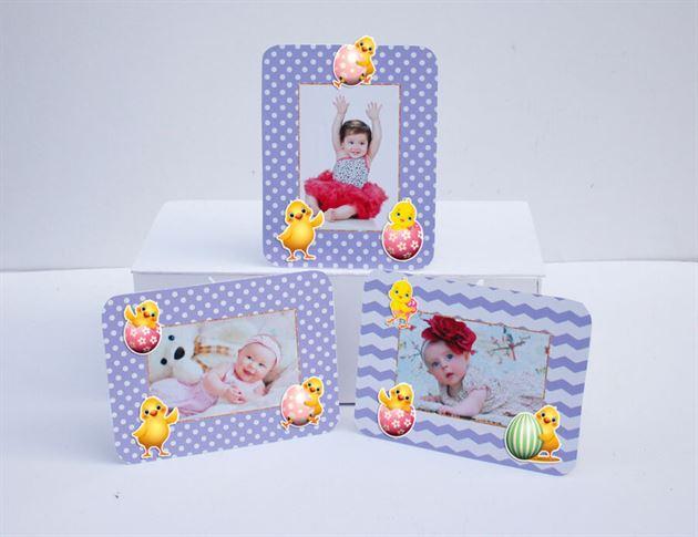 Tem khung hình sinh nhật bé gái tuổi gà màu tím chấm bi
