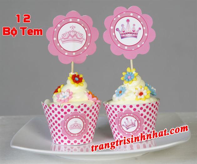 Tem bánh cupcake chủ đề Công Chúa