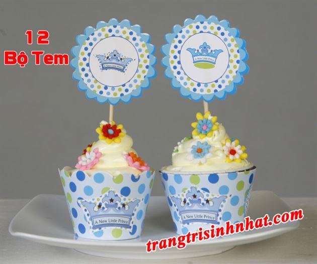 Tem bánh cupcake chủ đề Hoàng Tử