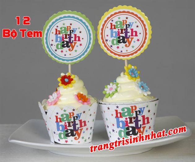 tem bánh cupcake chủ đề Happy Birthday