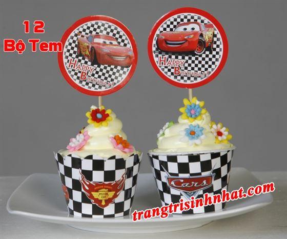 Tem bánh cupcake chủ đề Mc Queen