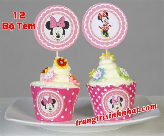 Tem bánh cupcake Minnie