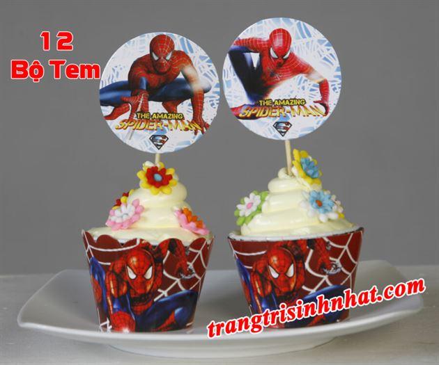 Tem bánh cupcake Spiderman ( người Nhện )