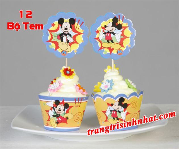 Tem bánh cupcake chủ đề Mickey