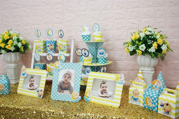 Trang trí tiệc sinh nhật cho bé thật dễ dàng với full set Baby Boy màu xanh min vàng