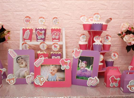 Trang trí bàn sinh nhật trọn gói bé gái hồng tím