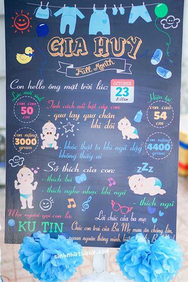 Trang trí bảng thông tin của bé theo chủ đề baby boy