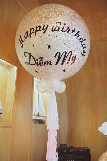 Trang trí bong bóng jumbo cho sinh nhật bé gái
