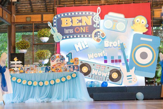 Trang trí sinh nhật bé Ben chủ đề bé yêu âm nhạc