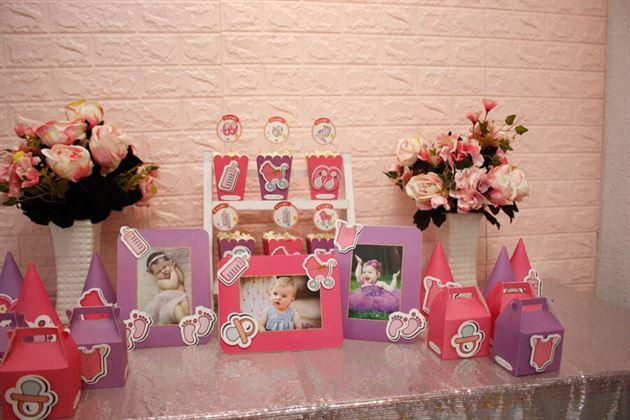 Trang trí sinh nhật cho bé gái tông hồng tím đáng yêu