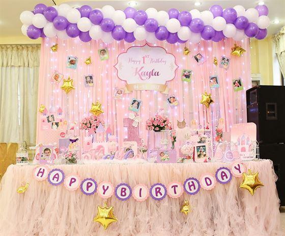 Gói trang trí sinh nhật bé gái tông màu hồng