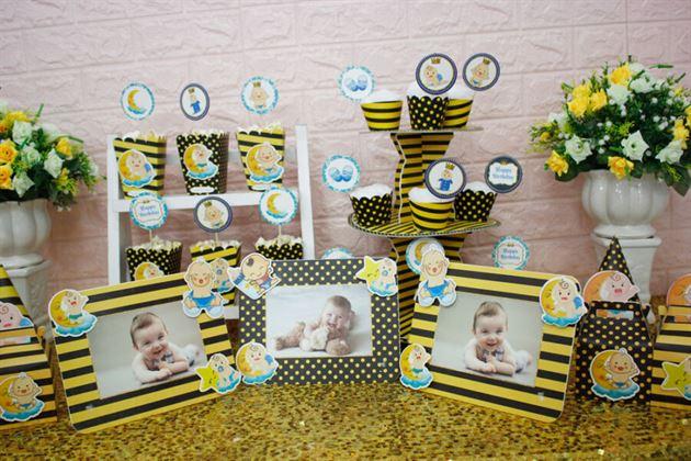 Trang trí thôi nôi với full set Baby Bot màu vàng đen