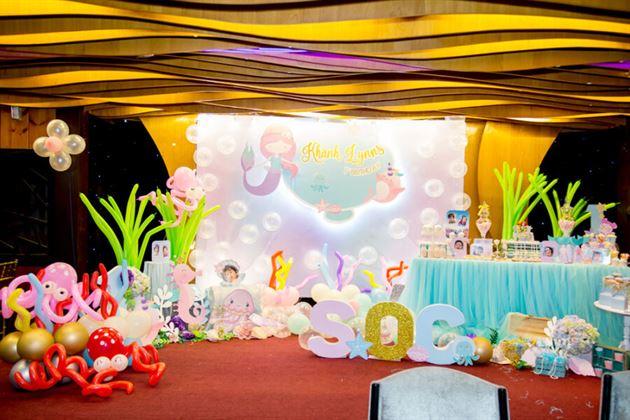 Trang trí tiệc sinh nhật cho bé Khánh Lynns phong cách 3D theo chủ đề Nàng tiên cá