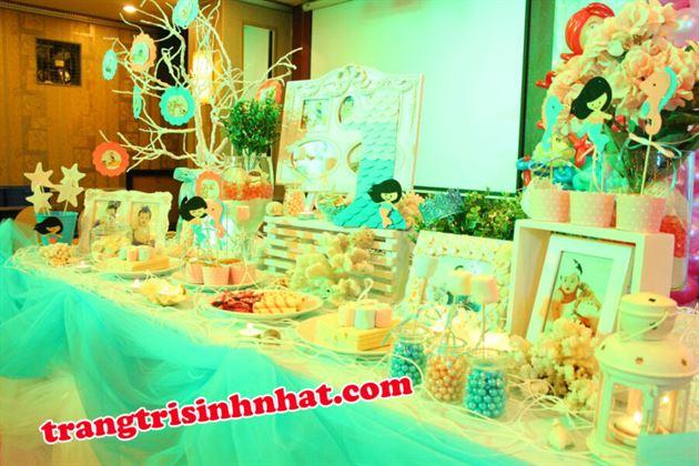 Trang Trí bàn tiệc sinh nhật chủ đề Nàn Tiên Cá