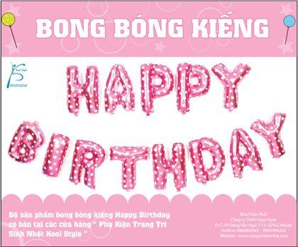 Bong bóng chữ Happy Birthday màu hồng