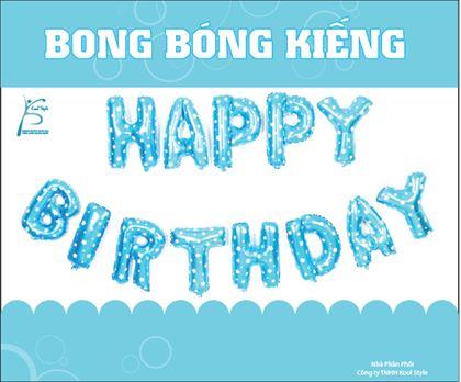 Bong bóng chữ Happy Birthday màu xanh dương