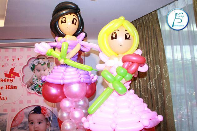 Trang trí trụ bong bóng công chúa