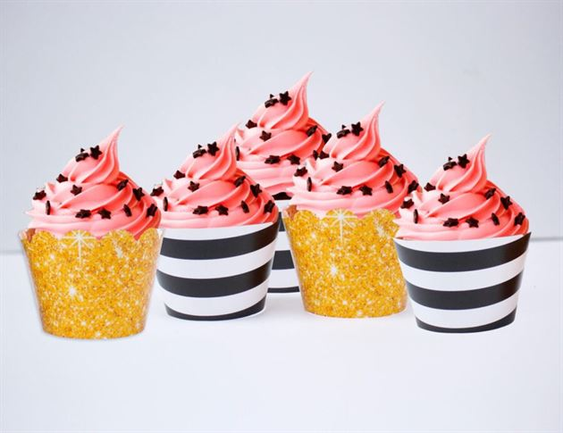 Vỏ bánh cupcake màu đen kim tuyến