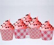 Vỏ bánh cupcake màu hồng lưới