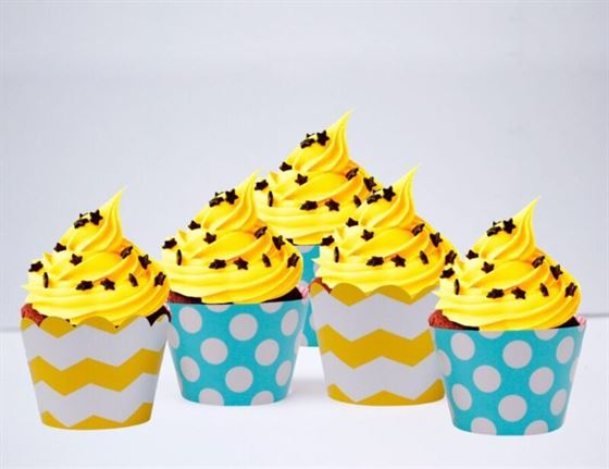 Vỏ bánh cupcake màu xanh min vàng