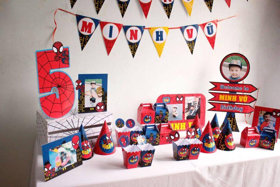 Bộ phụ kiện trang trí sinh nhật cho bé trai chủ đề Spiderman