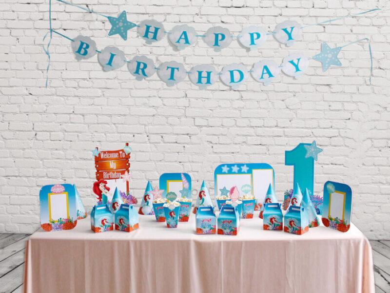 Bộ set trang trí sinh nhật cho bé chủ đề nàng tiên cá