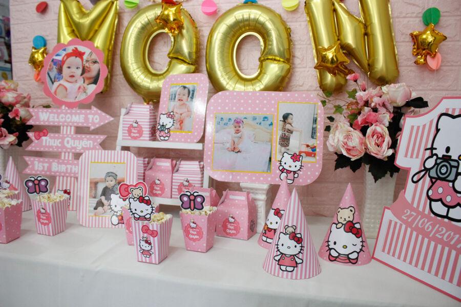 Khung hình sinh nhật bé gái Kitty
