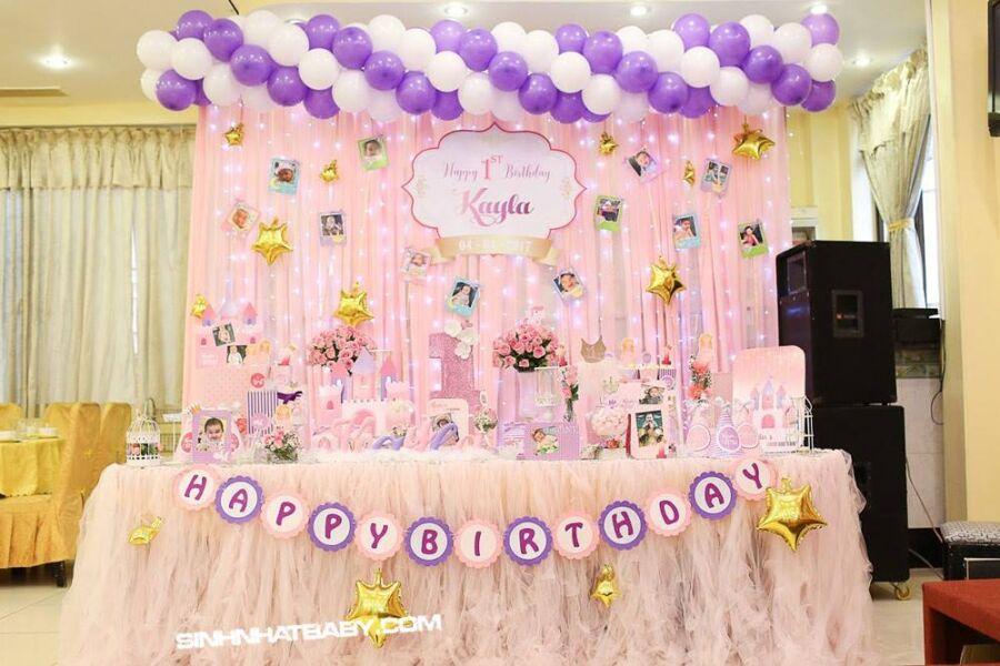 Trang trí sinh nhật bé gái tông màu hồng