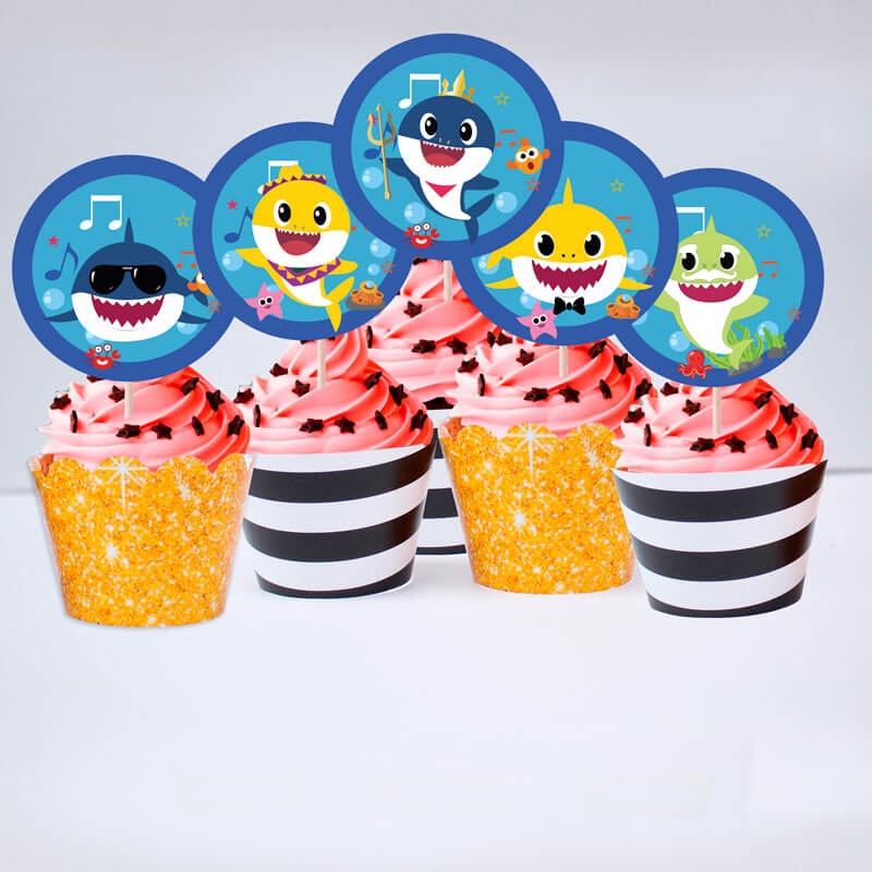 Set bánh cupcake sinh nhật Baby Shark boy màu đen kim tuyến