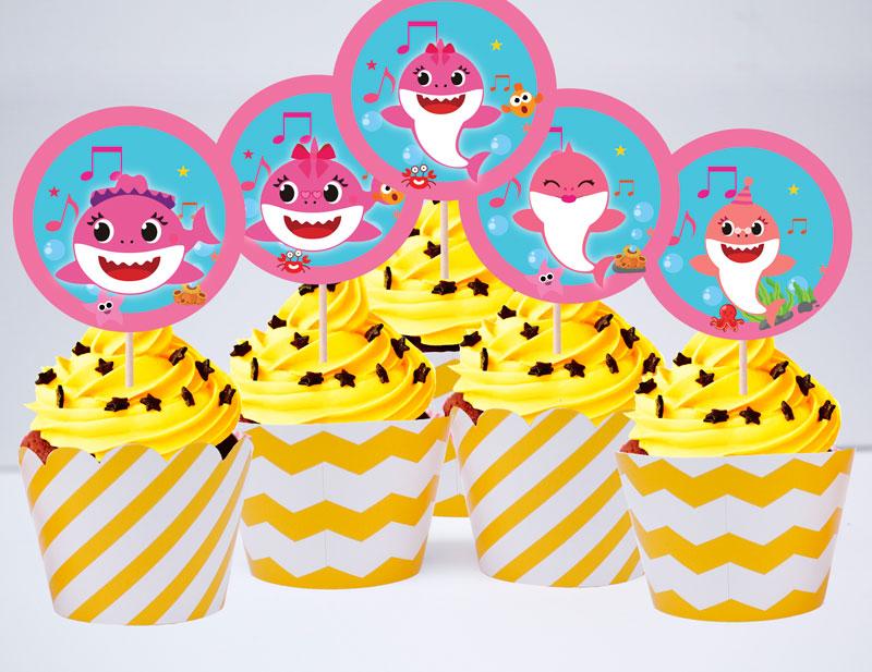 Set bánh cupcake baby shark girl màu vàng zigzag