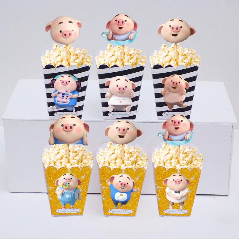 Set bắp rang bơ đồ sinh nhật màu đen kim tuyến