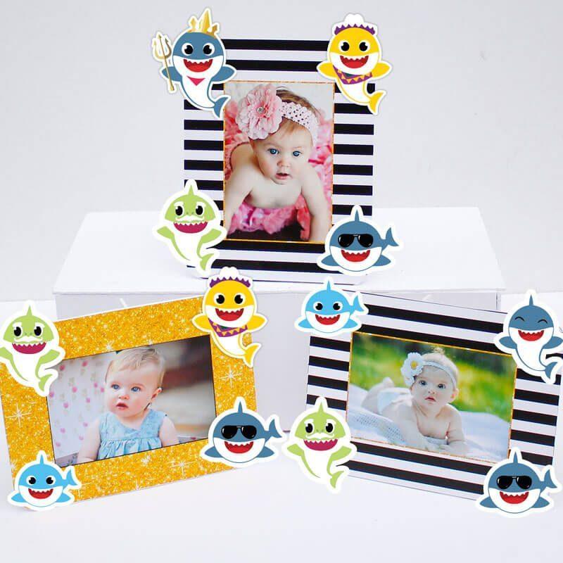Set khung hình sinh nhật Baby Shark boy màu đen kim tuyến